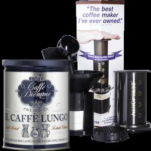 zestaw aeropress aerobie i kawa caffe lungo